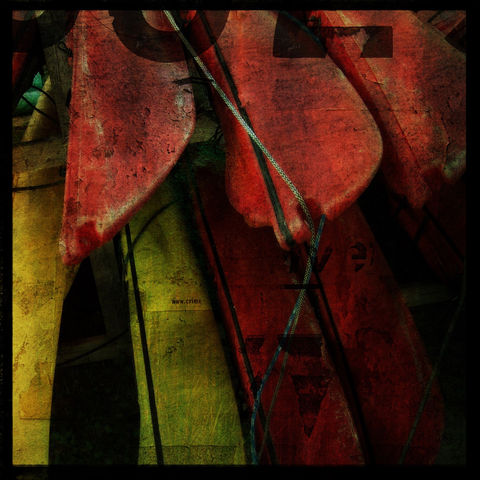 Hulls,8,in,x,Altered,Photograph,Art,Photography,Surreal,digital,kayak,texture,yellow,red,altered,paper,ink
