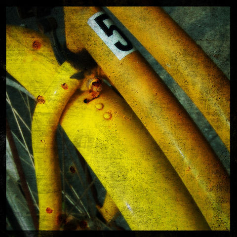 Bike,Five,8,in,x,Altered,Photograph,Art,Photography,Digital,surreal,bike,bicycle,texture,yellow,moody,paper,ink