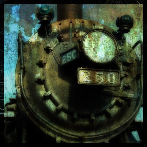 Engine,250,8,in,x,Altered,Photograph,Art,Photography,Digital,surreal,landscape,moody,train,blue,altered,urban,paper,ink