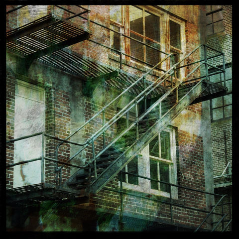 Fire,Escape,8,in,x,Altered,Photograph,Art,Photography,Digital,surreal,fire_escape,building,urban,texture,paper,ink