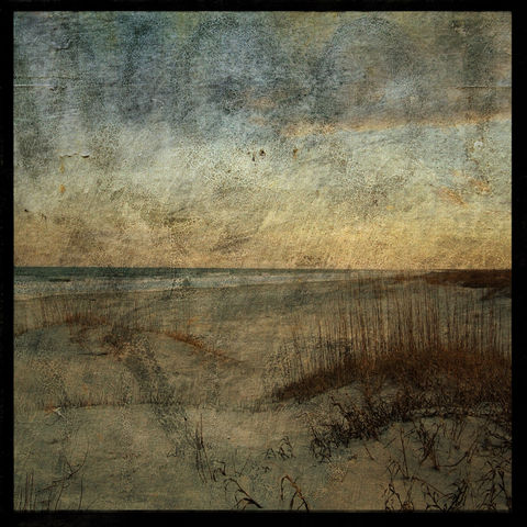 Masonboro,Island,No.,15,-,8,in,x,Altered,Photograph,Art,Photography,Nature,surreal,digital,brown,texture,moody,ocean,sea,dune,sunrise,paper,ink