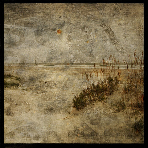 Beach,Photo,-,Masonboro,Island,No.,11,8,in,x,Altered,Photograph,Art,Photography,Nature,surreal,digital,brown,texture,moody,ocean,sea,sand,dune,beach_photo,paper,ink