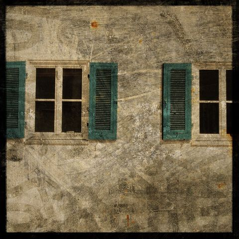 Blue,Shutters,-,8,in,x,Photograph,Art,Photography,Surreal,digital,moody,texture,blue,shutters,windows,alsace,france,architectural,paper,ink