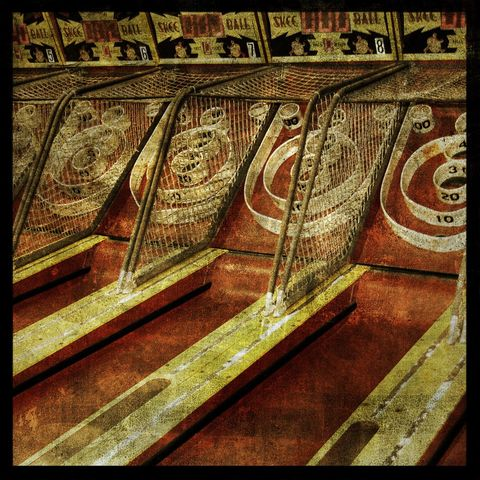 Skeeball,-,8,in,x,Altered,Photograph,Art,Photography,Surreal,digital,brown,texture,moody,skeeball,red,yellow,carnival,arcade,paper,ink