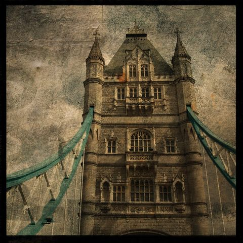 London,Print,-,Tower,Bridge,No.,2,8,in,x,Altered,Photograph,Art,Photography,Surreal,digital,brown,texture,moody,england,thames,river,tower,bridge,boat,british,london_print,paper,ink