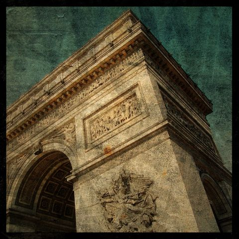 Arc,de,Triomphe,No.,2,-,8,in,x,Altered,Photograph,Art,Photography,Surreal,digital,brown,texture,moody,arc_de_triomphe,paris,france,french,europe,paper,ink
