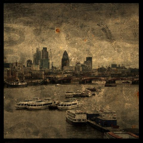 Thames,River,No.,1,-,8,in,x,Altered,Photograph,Art,Photography,Surreal,digital,brown,texture,moody,england,thames,river,paper,ink