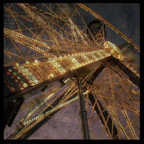 Carnival,Photo,-,Ferris,No.,2,8,in,x,Altered,Photograph,Art,Photography,Surreal,digital,brown,texture,moody,fair,lights,Carnival_Photo,ferris_wheel,amusement_park,paper,ink
