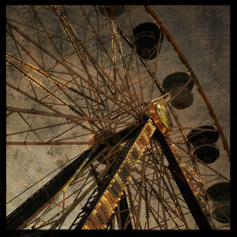 Ferris,Wheel,Photo,-,No.,1,8,in,x,Altered,Photograph,Art,Photography,Surreal,digital,brown,texture,moody,carnival,lights,Ferris_Wheel_Photo,amusement_park,paper,ink