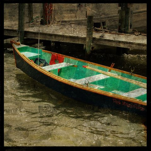 The,Meridian,-,8,in,x,Altered,Photograph,Art,Photography,Surreal,digital,texture,moody,skiff,boat,water,blue,green,paper,ink