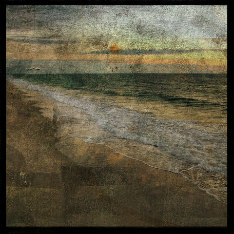Dawn,Toward,Mercer's,-,8,in,x,Altered,Photograph,Art,Photography,Surreal,digital,brown,texture,moody,sea,dune,blue,altered,ocean,beach_art,pier,sunrise,paper,ink