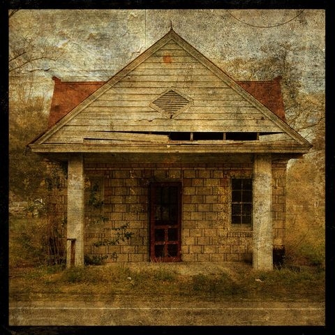 Rural,Gas,Station,No.,2,-,8,in,x,Altered,Photograph,Art,Photography,Digital,surreal,texture,rural,gas_station,building,paper,ink