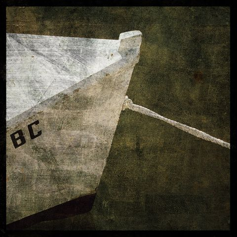 Tied,-,8,in,x,Altered,Photograph,Art,Photography,Surreal,digital,brown,texture,moody,skiff,boat,water,paper,ink