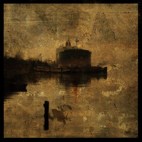 The,Tanker,and,the,Skiff,-,8,in,x,Altered,Photograph,Art,Photography,Surreal,digital,brown,texture,moody,skiff,boat,tanker,water,paper,ink