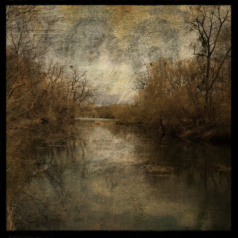 Alsace,Pond,No.,1,-,8,in,x,Altered,Photograph,Art,Photography,Nature,surreal,digital,trees,brown,texture,moody,pond,landscape,france,europe,paper,ink