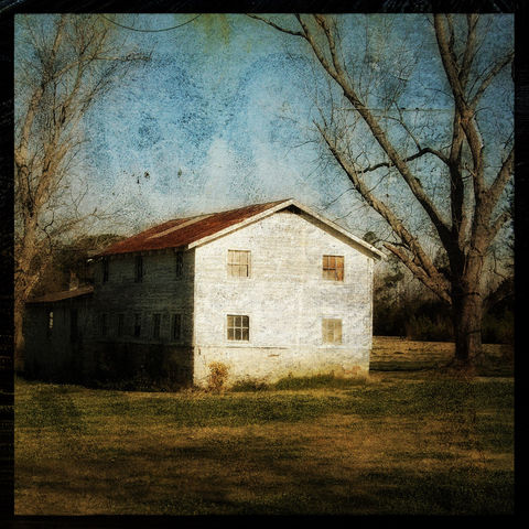 Barn,Photography,-,Castle,Hayne,Road,8,in,x,Altered,Photograph,Art,Digital,surreal,red,blue,texture,moody,barn_photography,paper,ink