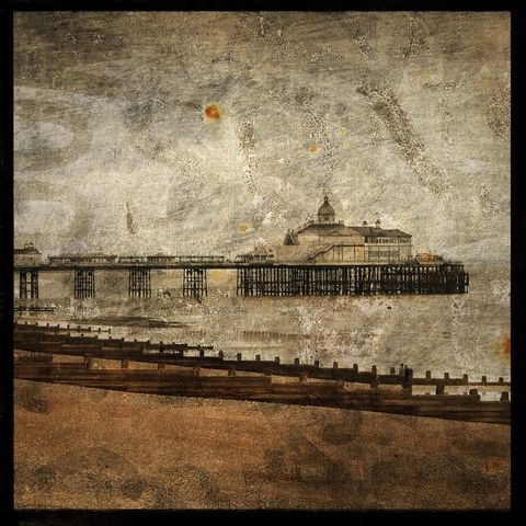 The,Pier,at,Eastbourne,-,8,in,x,Altered,Photograph,Art,Photography,Surreal,digital,brown,texture,moody,england,seaside,pier,eastbourne,ocean,paper,ink
