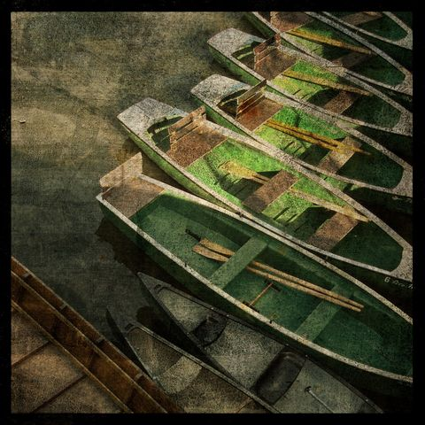 Tubingen,Boats,-,8,in,x,Altered,Photograph,Art,Photography,Surreal,digital,brown,texture,moody,tubingen,boat,rowboat,germany,stocherkahne,punt,paper,ink