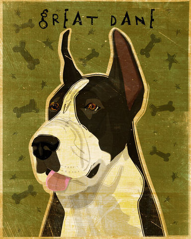 Great,Dane,Number,7,-,Black,Mantle,Dog,Art,Print,8,in,x,10,Illustration,whimsical,cute,animals,dog_art,pet,puppy,Great_Dane,Great_Dane_Art,Dog_Print,black_mantle,paper,ink
