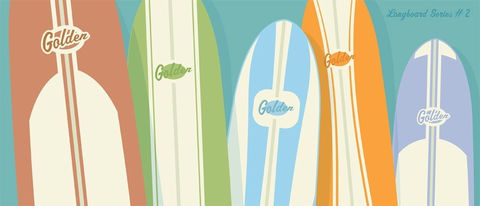 Surfing,Art,-,Golden,Longboards,Surfboard,Print,No.2,6,in,x,14,Illustration,paper,print,color,faded,tropical,surf,beach,ocean,surfboard,longboard,Surfing_art