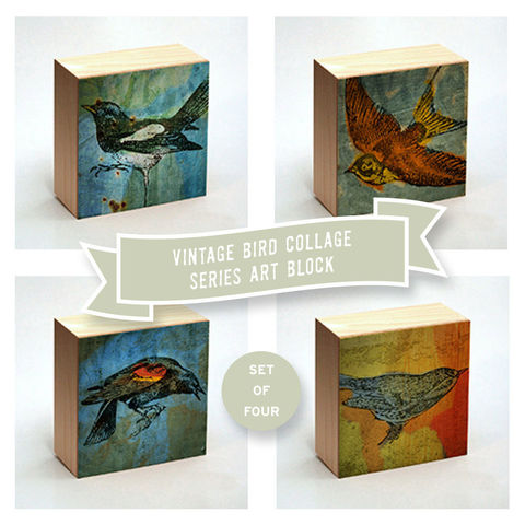 Vintage,Bird,Print,Collage,Art,Box,-,Set,of,Four,Pick,your,Mix,4,in,x,Illustration,Digital,reproduction,wood,block,vintage_dictionary,art_box,collage,Vintage_Bird_Print,paper,ink,glue,sealer