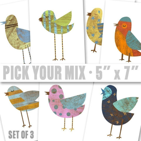 Bird,Art,-,Collage,Series,Pick,Your,Mix,Set,of,3,Illustrations,5,in,x,7,Children,Print,kids,kid,print,paper,cute,animal,digital,nursery,colorful_spring,decor,bird_art