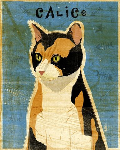 Calico,Cat,Print,8,in,x,10,Art,Illustration,digital,whimsical,cute,animals,animal,cat,calico,paper,ink