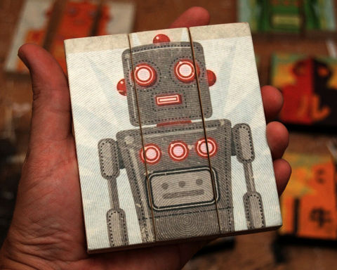 Toy,Robot,Art,-,Oscar,Medium,Block,Triptych,Illustration,wood,block,triptych,toy_robot_art,paper,ink,glue,sealer
