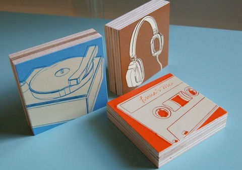 Music,Art,-,Lunastrella,Block,Set,3,in,x,Headphones,,Cassette,and,Phono,Illustration,brown,orange,blue,block,small,headphone,record,player,cassette,rock_n_roll,music_art,ink,paper,wood,sealer