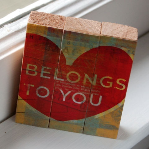 Belongs,to,You,-,Mini,Triptych,Blocks,Art,Illustration,wood,block,red,heart,love,valentine,yellow,type,valentines_day,men,women,hearts,paper,ink,glue,sealer