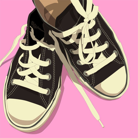 Low,Top,Converse,Styled,Sneakers,Black,on,Pink,8,in,x,Art,Illustration,Print,digital,kitsch,retro,vintage,shoes,lowtops,pink,low_top_converse,paper,computer