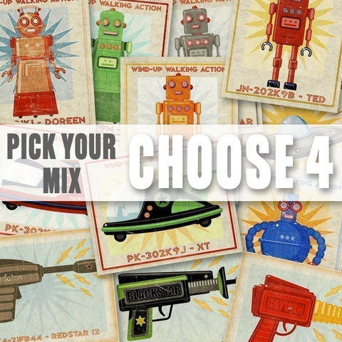 Robots,,Rayguns,and,Racers,Set,of,4,Prints,-,Pick,your,Mix,8,in,x,10,Art,Illustration,Digital,kids,kid,print,paper,digital,toddler,art,nursery,children,robot,raygun,racer,sci_fi