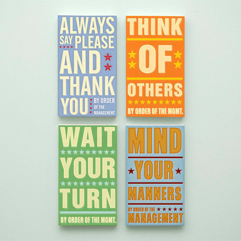 Kids Room Art - Good Manners Set By Order of the Management Word Art Blocks - Set of 4 - 4 in x 7 in - product images  of