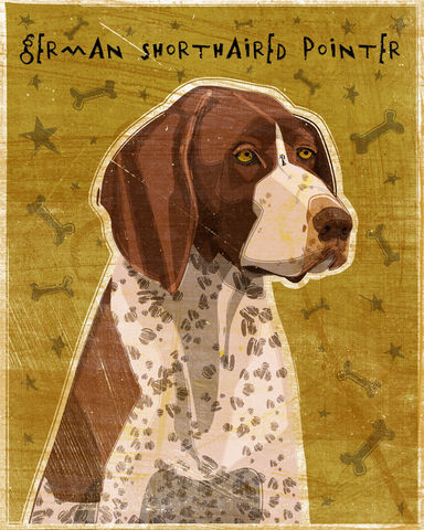 German,Shorthaired,Pointer,Print,8,in,x,10,Art,Illustration,digital,whimsical,cute,dog,animals,animal,brown,german,shorthaired,pointer,paper,ink