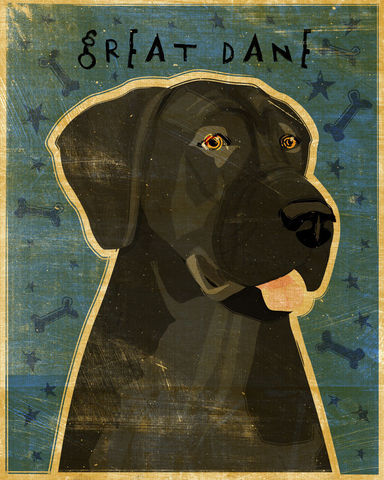 Great,Dane,Number,10,-,Black,Dog,Art,Print,8,in,x,Illustration,whimsical,cute,animals,dog_art,pet,puppy,Great_Dane,Great_Dane_Art,Dog_Print,black,paper,ink