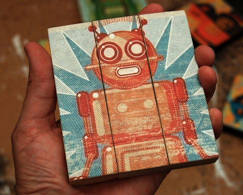 Retro,Robot,Doreen,Medium,Art,Block,Triptych,Illustration,wood,block,triptych,Retro_Robot,paper,ink,glue,sealer