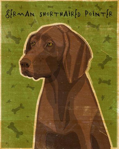 German,Shorthaired,Pointer,Liver,Print,8,in,x,10,Art,Illustration,digital,whimsical,cute,dog,animals,animal,brown,german,shorthaired,pointer,paper,ink