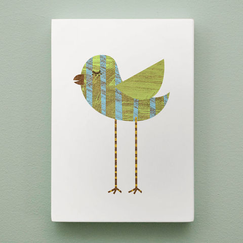 Collage,Bird,Art,Block,-,Blue,Green,Ring-legged,5,in,x,7,Illustration,Digital,reproduction,digital,bird,collage,block,small,blue,green,pink,polka_dot,pastel_decor,bird_decor,paper,wood,ink,sealer
