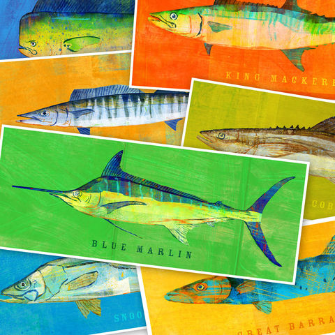 Saltwater,Fish,Art,-,The,Big,One,Print,Pick,Your,6.6,in,x,18,print,saltwater_fish_art,mahi_mahi,barracuda,blue_marlin,wahoo,cobia,snook,king_mackerel,paper