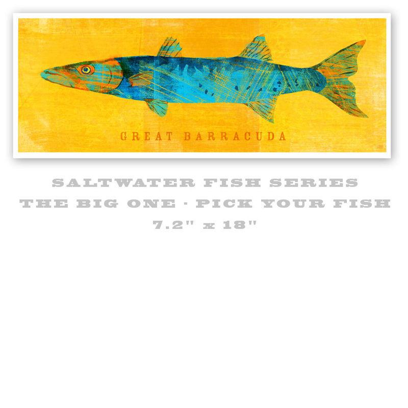 Saltwater fish art the big one fish print pick your for Big fish printing