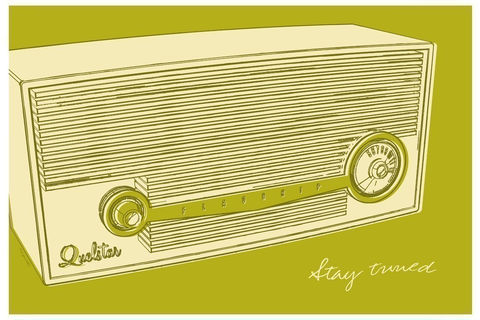 Lunastrella,Radio,Print,8,in,x12,Art,Digital,paper,radio,retro,green,drawing,digital,illustration,wall_decor