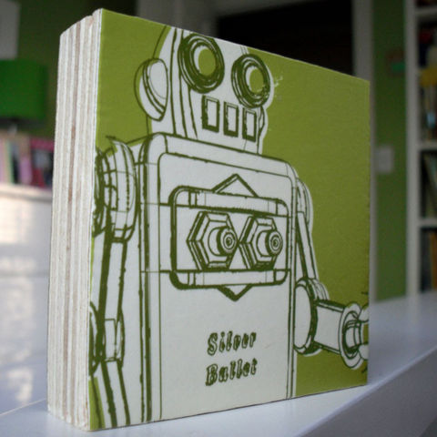 Lunastrella,Robot,Art,Block,-,3,in,x,Illustration,Print,digital,john_w_golden,reproduction,robot,green,block,paper,computer,wood,glue,sealer