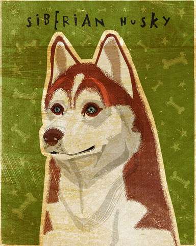 Red,Siberian,Husky,-,Dog,Art,Print,8,in,x,10,Illustration,whimsical,cute,animals,dog_art,pet,puppy,Dog_Print,Red_Siberian_Husky,paper,ink