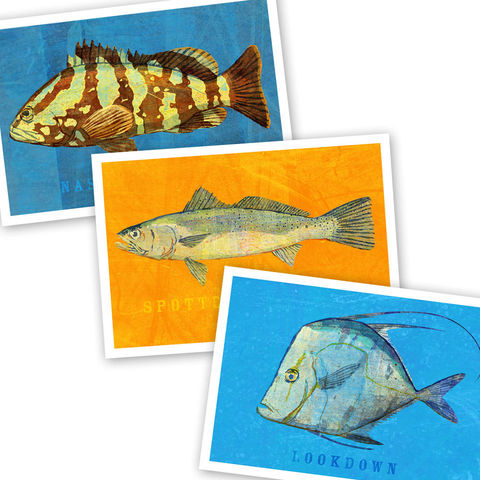 Saltwater,Fish,Art,-,3,Little,Fishies,Set,Number,2-,of,Prints,4,in,x,6,print,blue,orange,nassau_grouper,sea_trout,lookdown,saltwater_fish_art,paper