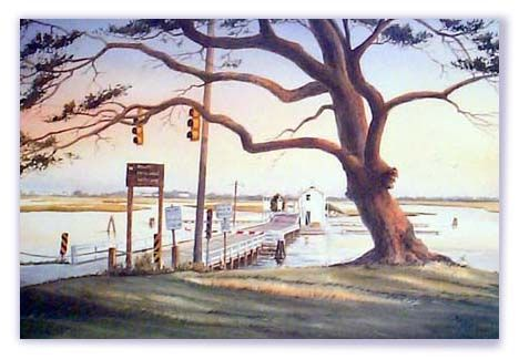 Bridge,at,Sunset,marshes, sound, swing bridge, giclee, print, watercolor, sunset beach, live oak