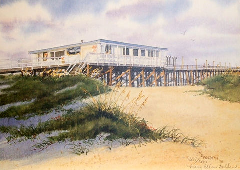 Johnnie,Mercer's,Pier,Limited,Edition,Johnnie mercer's, giclee, print, watercolor,ocean,pier,sea oats,seascape,seashore,wrightsville beach