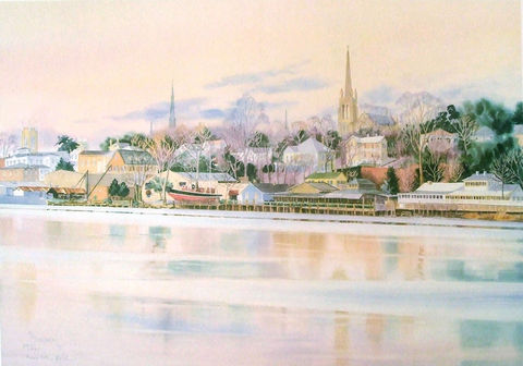 Riverview,Limited,Edition,Print,river view,Historic homes, cape fear river, print, watercolor, chandler's wharf
