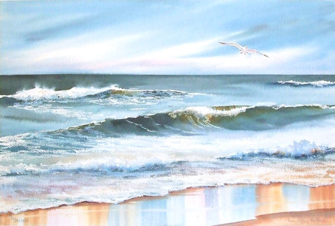 Rolling,In,Limited,Edition,seascape, waves, sea gull, ocean, giclee, print, watercolor, blue, aqua, water, foam, surf