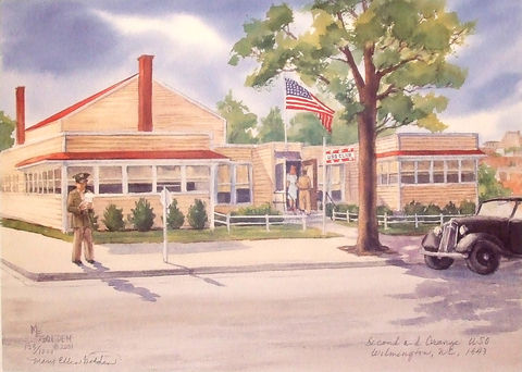 Second,and,Orange,Limited,Edition,USO building 1940s, 2nd and Orange,Wilmington NC, giclee, print, watercolor