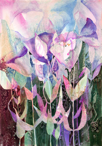 Spring,Dance,Watercolor,Original,flowers, abstract, watercolor, floral, pink, purple, green, lisianthus